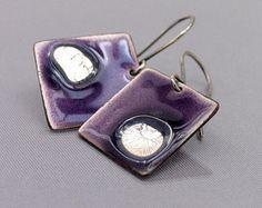 Artisan earrings - purple enamel and sterling silver - handmade OOAK jewelry - modern jewelry by Alery
