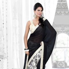 Black and Off White Faux Satin Georgette Saree With Blouse