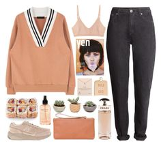 """""""Peach"""" by dana-rachel ❤ liked on Polyvore featuring H&M, philosophy, COSTUME NATIONAL, Prada, Dogeared, Base Range, New Balance and Herschel Supply Co."""