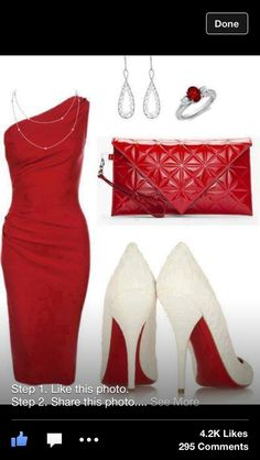 Beautiful classy sophisticated red one shoulder knee length dress and accessories