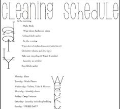 Seasons of a Homemaker: Free Printables - Cleaning Schedule