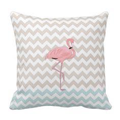 Flamingo Chevron Accent Pillow