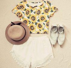 Sunflower Print Crop Top