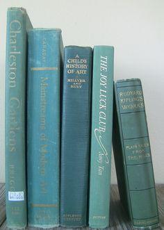 vintage books instant aqua/green collection