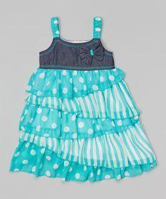 Look what I found on #zulily! Blue Polka Dot Ruffle Dress - Toddler & Girls by Unik #zulilyfinds