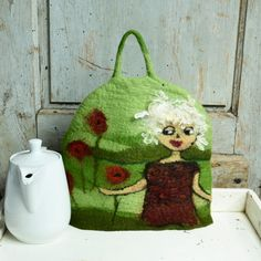 Green felt tea cozy Handmade Felted teapot cozy teapot cosy art cozy gift for tea drinker, tea warmer, contemporary cozy, modern cozy
