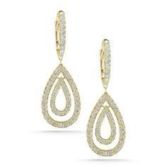 Diamond Drop Earrings in Yellow Gold