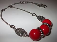 Chunky Red Necklace Chunky Silver Chain Necklace Bead by mscenna, $15.00