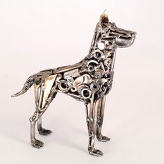 Welded sculpture of dog, made by artist Brian Mock.