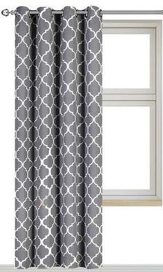 printed blackout room darkening printed curtains window panel drapes grey