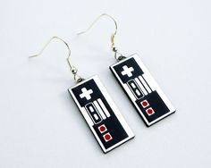 Nintendo Controller silver fish hook earrings in FREE gift box. $15.00, via Etsy.