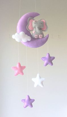 Baby mobile - cloud mobile - elephant mobile - moon and stars mobile - Baby Nursery: Mobiles - Design Star Mobile, Cloud Mobile, Felt Mobile, Mobile Mobile, Felt Crafts Diy, Baby Crafts, Crafts For Kids, Elephant Mobile, Baby Car Mirror