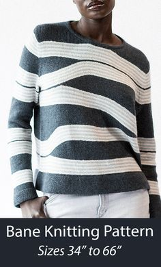 Knitting pattern for sleek, tailored pullover featuring a graphic pattern of shifting and bending stripes, cleverly shaped using short rows. Worked flat in pieces and seamed. Sizes 34 (38.25, 42, 46.5, 50.25)(54, 58.25, 62, 66) inches. Fingering weight yarn. Designed by Emily Greene.