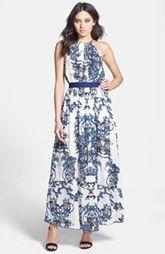 Lucy Paris Brocade Print Maxi Dress