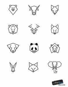Bear Bull Fox Tiger Deer Wolf Dog Panda Lion Rabbit Cat and Elephant Geometric A. - Bear Bull Fox Tiger Deer Wolf Dog Panda Lion Rabbit Cat and Elephant Geometric Animal Pattern Wall - Easy Drawings, Tattoo Drawings, Body Art Tattoos, Simple Animal Drawings, Sketch Tattoo, Men Finger Tattoos, Doodle Drawings, Pencil Drawings, Tier Doodles