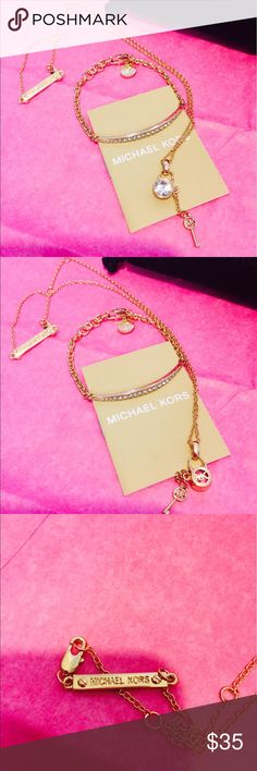 "MICHAEL KORS NECKLACE & BRACELET 2 PCS SET MK LOGO GOLD TONE NECKLACE AND BRACELET 2 PCS SET WITH CRYSTAL ACCENTS. CHAIN IS 20"" LONG AND BRACELET IS ADJUSTABLE TO FIT 6 1/2"" - 8"". COMES WITH ORIGINAL MK BOX AND DUST BAG Michael Kors Jewelry Necklaces"