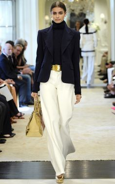 Turtleneck cable-knit sweater + navy blazer + gold belt bag shoes + white pants Ralph Lauren Resort 2015 #Cruise2015 #fashion #classic #chic #colorblock