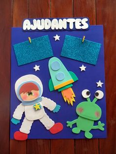Space Crafts For Kids, Diy For Kids, Quiet Book Patterns, Paper Crafts, Diy Crafts, Bible For Kids, Decorate Notebook, Space Theme, Kids Cards