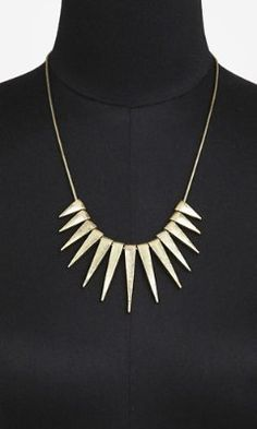 GRADUATED SPIKE NECKLACE from EXPRESS. Try pairing it with a strapless dress for an unexpected statement.