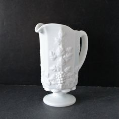Vintage Milk Glass Pitcher by Westmoreland in by Hallingtons