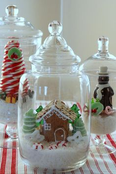 Learn how to make these entirely edible wintry wonderland terrariums for the holidays. Holiday Fun, Christmas Holidays, Christmas Crafts, Christmas Decorations, Christmas Ornaments, Holiday Ideas, Christmas Ideas, Christmas Houses, Christmas Things