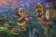 Disney's Tangled goes on a new adventure in this magical jigsaw puzzle re-imagined in the style of Thomas Kinkade. 24 x x © Disney © Thomas Kinkade Disney Kunst, Arte Disney, Disney Art, Floating Lantern Festival, Floating Lanterns, Flynn Rider, Rapunzel And Flynn, Disney Rapunzel, Disney Princess