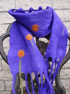 Scarf Felted Purple with orange flowers by oksana on Etsy, $44.00