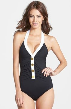 Ralph Lauren Button Detail Halter One-Piece Swimsuit | Nordstrom