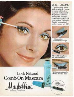 Maybelline 'Comb-On' Mascara, 1976 Vintage Makeup Ads, Retro Makeup, Vintage Beauty, Vintage Ads, 1970s Makeup, Vintage Posters, Retro Advertising, Vintage Advertisements, Retro Ads