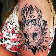 Rabbit Head with Antlers Tattoo by Lilian Mascarello  - Tattoo Lust Ledftovers: Part XXIV | Fonda LaShay // Design → more on fondalashay.com/blog
