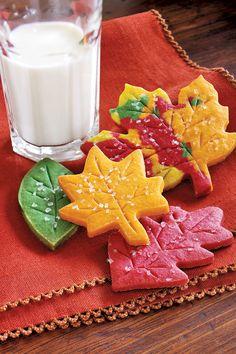 Sugar-Sprinkled Leaf Cookies