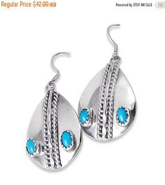 Navajo Silver Turquoise Pierced Dangle Earrings, Vintage  Silver Turquoise Earrings, Navajo Dangle Earrings, Free Shipping USA, Gift for her