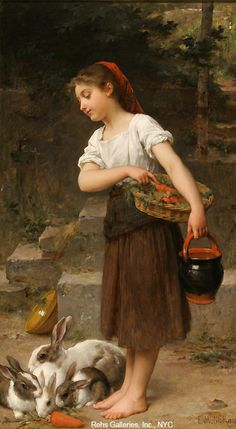 Emile Munier, painter, student of william Bouguereau Feeding the Rabbits