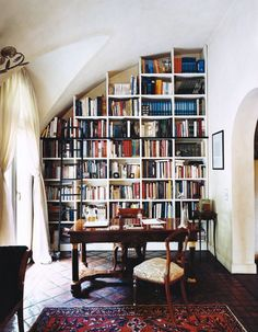 Browse exclusive Home library, Living Room & Office Ideas photos to make your house a home at Domino. Decorate your space with inspiring interior designed rooms, styles and colors. Home Library Design, Dream Library, Beautiful Library, Library Ideas, Library Ladder, Library Wall, Home Libraries, Up House, Interior Exterior