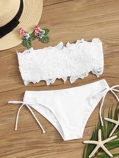 To find out about the Guipure Lace Bandeau With Self Tie Bikini Set at SHEIN, part of our latest Bikinis ready to shop online today! Modest Bikini, Bikini Bandeau, Lace Bandeau, Red Bikini, Bikini Swimwear, Bikini Set, Bikinis For Teens, Summer Bikinis, Bandeaus