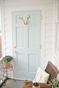 Whipped Mint Door- Sunroom Makeover - painted with Whipped Mint paint by Behr Mint Paint Colors, Paint Colors For Home, House Colors, Behr Paint Colors, Room Colors, Green Front Doors, Front Door Colors, Mint Door, Small Sunroom