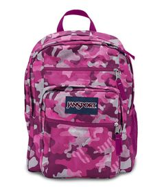 Jansport Big Student Backpack - Fluorescent Pink Streaky Camo Available at  www.canadaluggagedepot.ca a3809afbb4