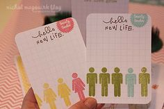using stamps to decorate a plain grid card. - Cute people stamp...anyone know what brand /name of the stamp?