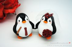 Funny Penguin Hockey Wedding Cake Toppers Sports Theme-Personalised Bride And Groom Hockey Wedding Cake Toppers