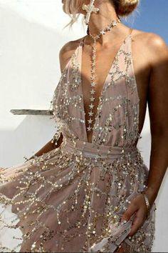 79eaa82bc4 Sequins Tassel Halter Backless Dress. Gold ...