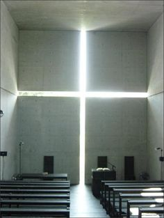 This captures my idea of faith. The space is full of the Sun's natural light, as is the soul that has faith.  (tadao ando)