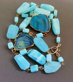 Peruvian Blue Opal with Aqua Galaxy Quartz Druzy Connector Choose Single or Double Strand Layering Necklace Wire Wrapped 14k…