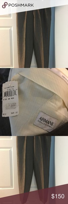 Men Brand new grey linen Armani slacks These  greyish linen men Giorgio Armani slacks brand new and never worn by the Gentleman. Armani Collezioni Pants Dress