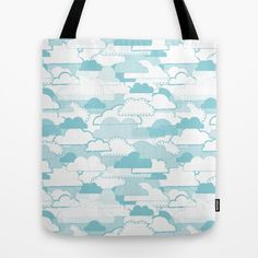 Clouds Tote Bag - Cloud, clouds, cloudy, weather, stripes, dots, blue, pattern, vector, art, design, illustration, drawing