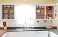 AN EXCELLENT TUTORIAL! Oh how I LOVE open cabinets. What a great change. See before/after and lots of time-saving and money-saving tips here: Fabric Backed Open Kitchen Cabinets – DIY on a Dime the Tutorial Open Kitchen Cabinets, Diy Cabinets, Painting Kitchen Cabinets, Kitchen Redo, New Kitchen, Updated Kitchen, Kitchen Ideas, Kitchen Shelves, White Cabinets
