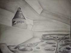 Ants veiw from the pizza , having the box half open and a pepsi bottle outside the box. Perspective Drawing Lessons, Perspective Sketch, One Point Perspective, Architecture Drawing Plan, Architecture Drawing Sketchbooks, Open Book Drawing, Open Pizza, Interior Design Renderings, Bottle Drawing