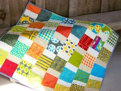Baby Quilt  Modern Quilt  Colorful Patchwork  by PlatoSquirrel