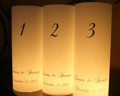 Unique Table Numbers | Table Number Luminaries Unique Table Decor by thepaperynook, $2.50