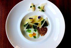 "Ricotta ""gnudi"" with Swiss chard cream, cuttlefish tartar, anchovies crumbs and lemon caviar"