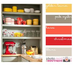 color for kitchen (yellow - red - coral - gray) will tie in with yellow and gray living room